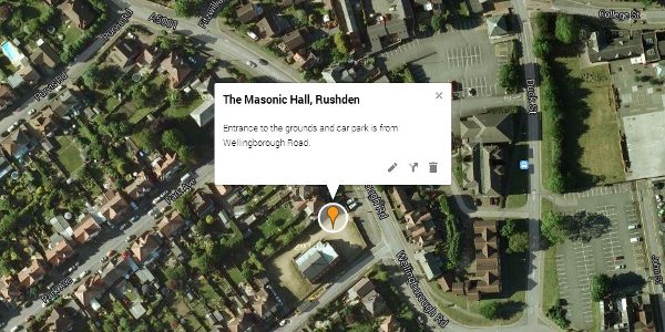 Map - Masonic Hall, Rushden